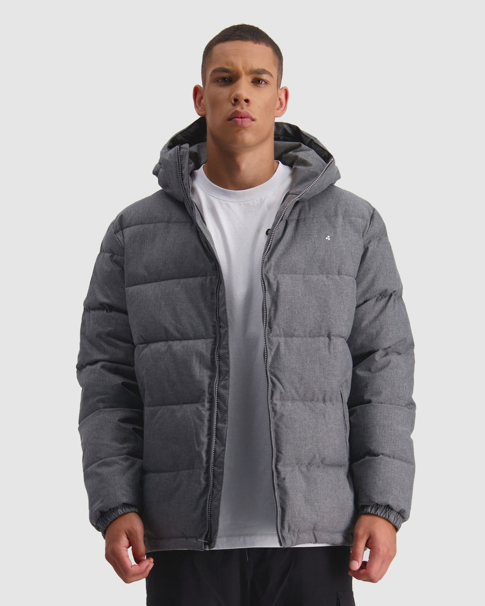 Huffer Mens Classic Down Jacket Herringbone Grey - Stencil