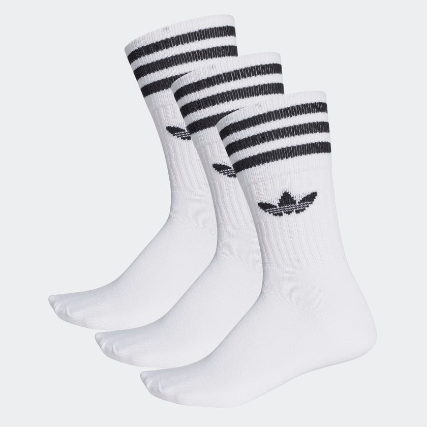 Adidas Solid Crew Socks 3pk White/ Black - Stencil