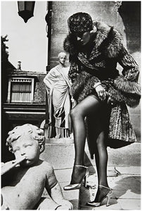 "Helmut Newton's ""Woman in Fur Adjusting Stocking"" Silver Gelatin Print"