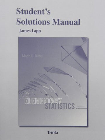 Student's Solutions Manual for Elementary Statistics