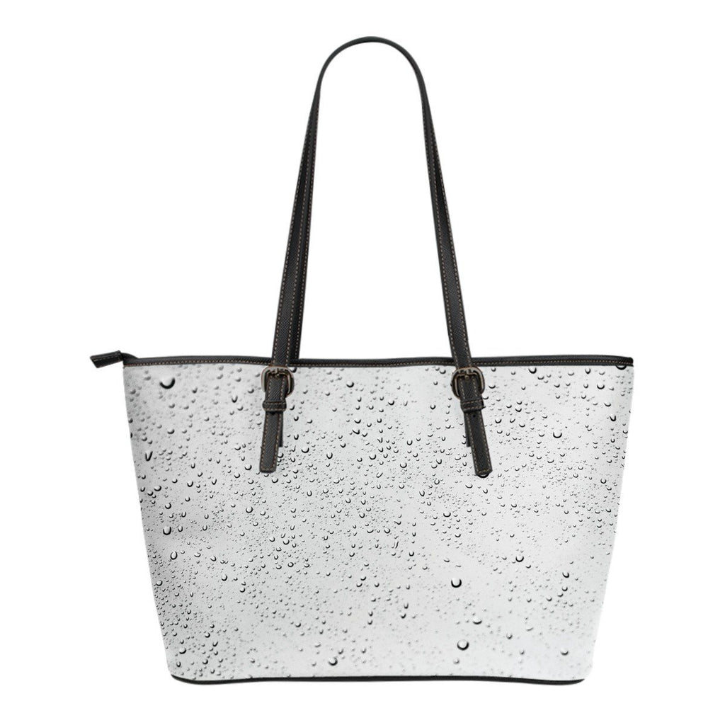Raindrops Print Leather Tote Bag