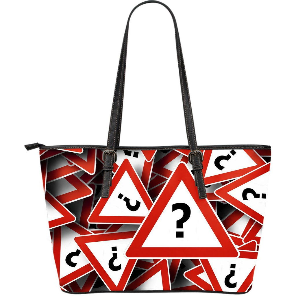 Question Mark Print Large Leather Tote