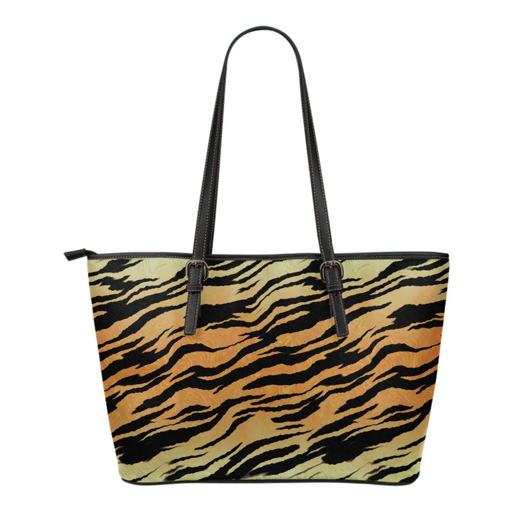 Tiger Stripes Small Leather Tote Bag