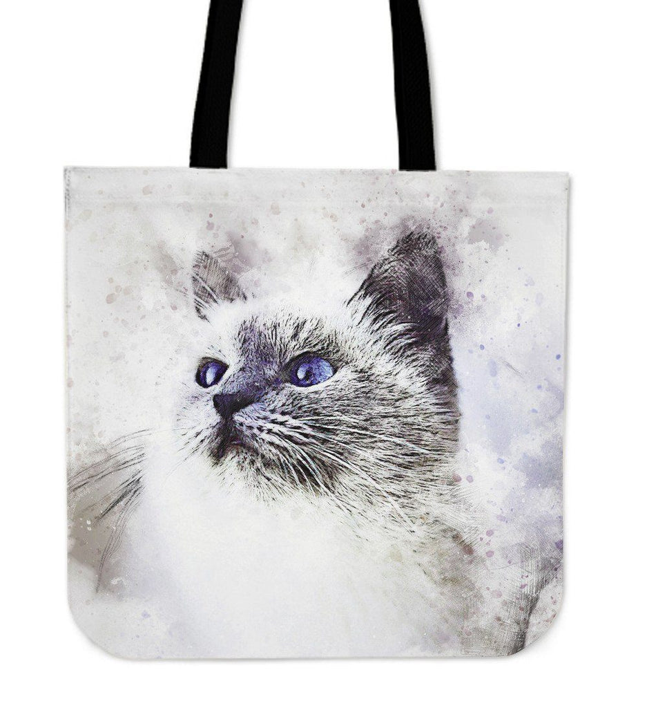 Watercolor Cat Tote Bag