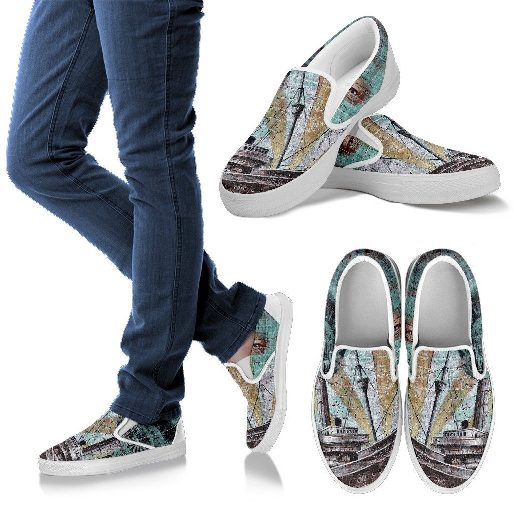 Old Drawing Print Men's Slip On Shoes