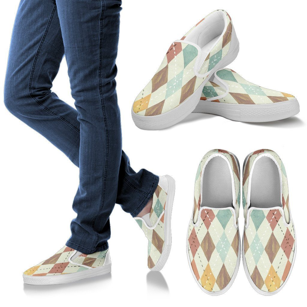 Watercolor Diamonds Women's Slip On Shoes