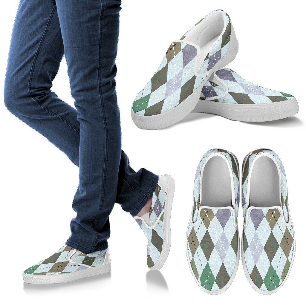 Watercolor Diamonds Men's Slip On Shoes