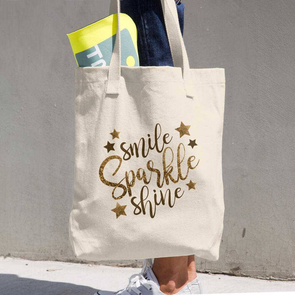 Smile Sparkle Shine Cotton Tote Bag