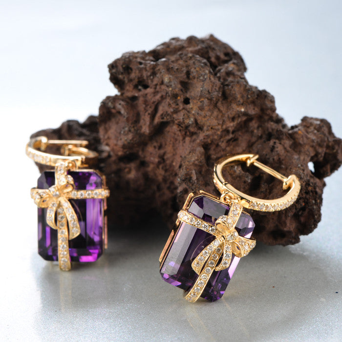 16.52ct Natural Amethyst Diamond 14kt Yellow Gold Earrings
