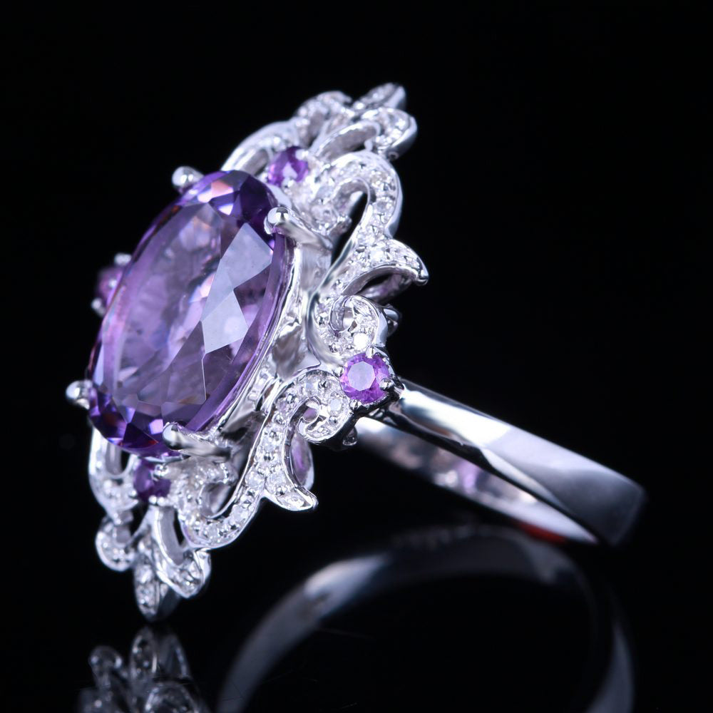 Solid 14k White gold 100% Genuine Amethyst Diamonds Flowers Ring