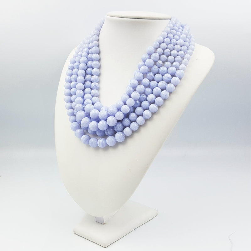 Natural Blue Lace Agate Gemstone Necklace