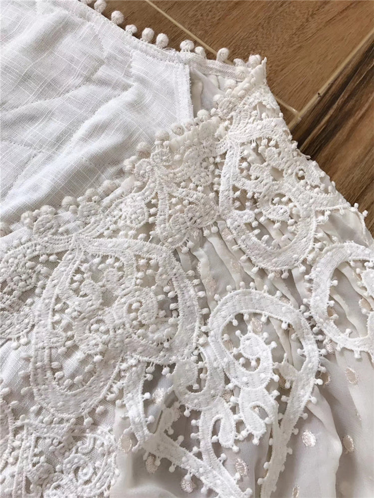 Boutique Embroidery Linen Dress