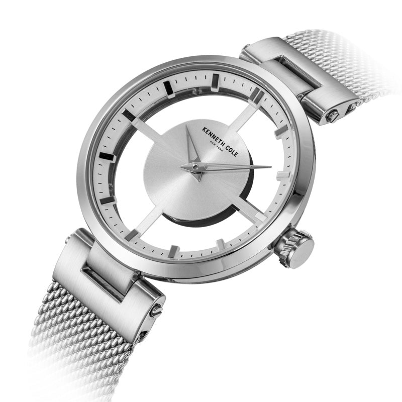 Kenneth Cole See- Through Silver Watch