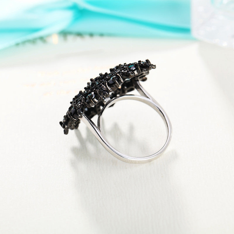 Black Sterling Silver Spinel Ring
