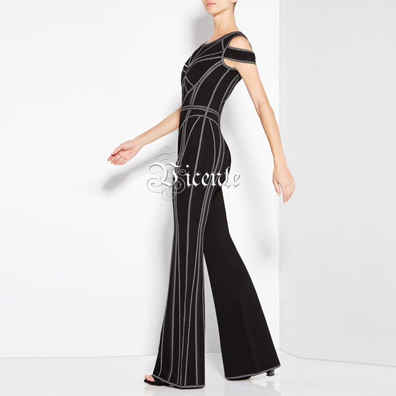 New Chic Geometric Sexy Off The Shoulder Jumpsuit
