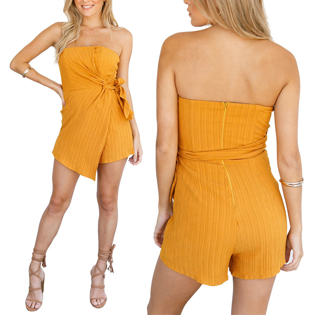 Sexy Off Shoulder Hand Woven Romper