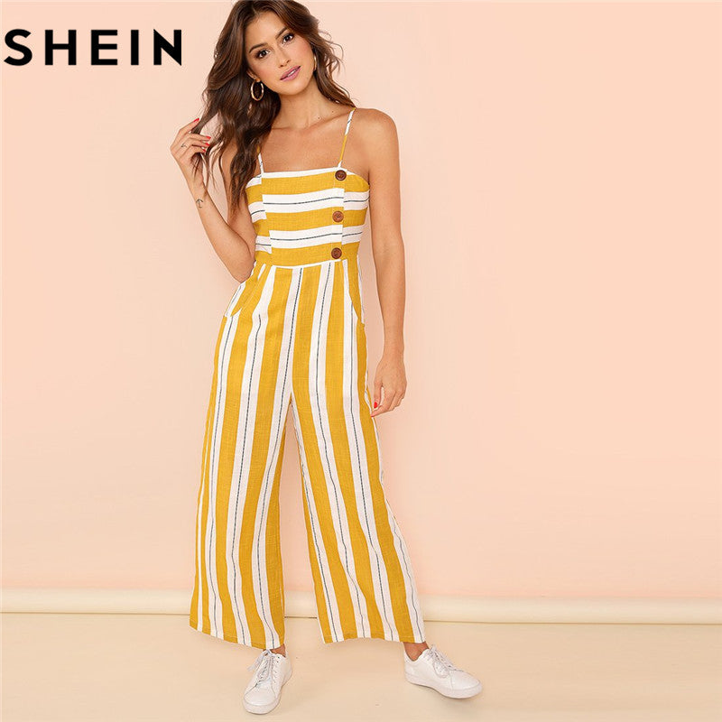 Striped Wide Leg High Waist Jumpsuit