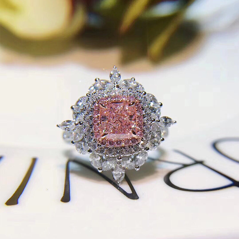 18K White Gold Women Ring Certified 2.252 Carat Rectangle Cut Real Natural Pink Diamond Engagement