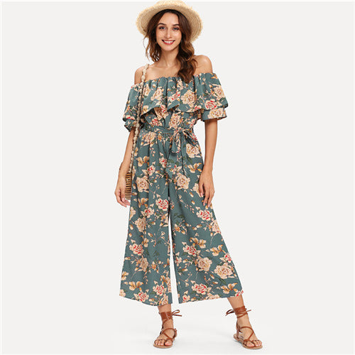 Off Shoulder Self Jumpsuit