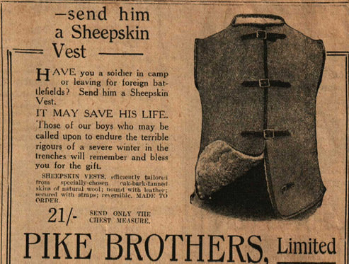 Newspaper Advertisement of a sheepskin vest from the Sydney Mail Newspaper in 1916