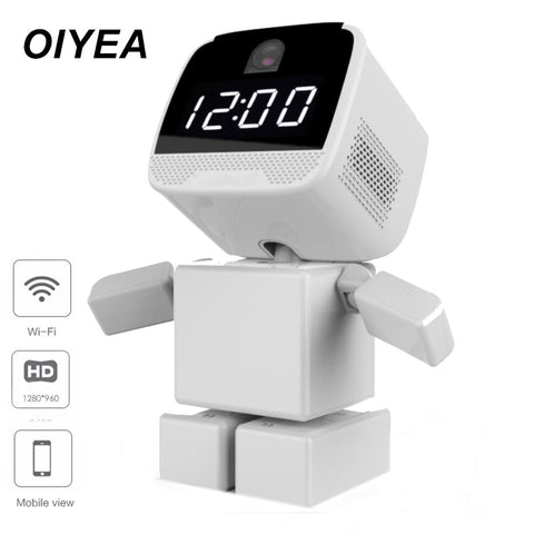 Robot style 960P 360 degree panoramic home security P2P with intelligent clock Robot camera