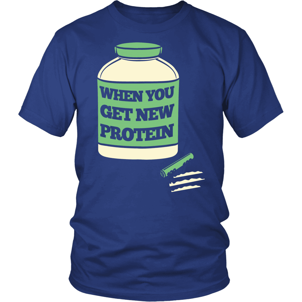 Spartan Mart:T-shirt,When I Get New Protein Mens Apparel