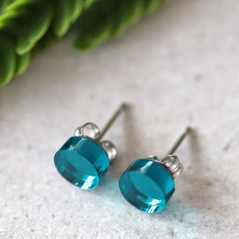 ACRYLIC STUDS - 6mm TEAL MIRROR