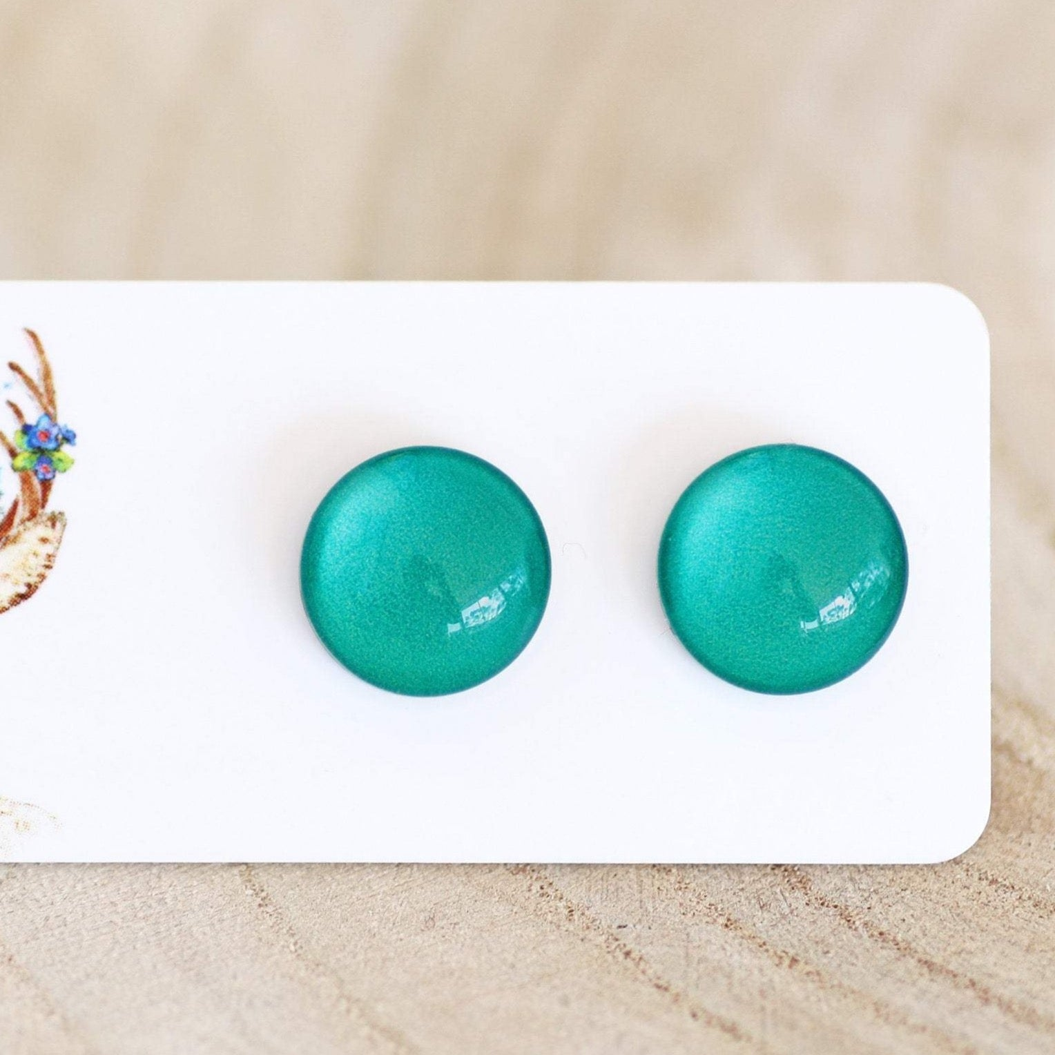 12mm GLASS STUDS - TEAL
