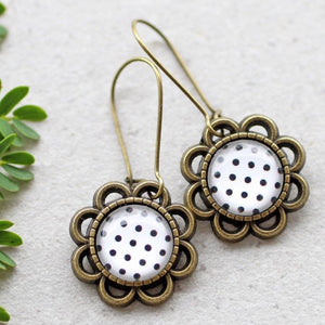 VINTAGE FLOWER EARRINGS - BLACK & WHITE POLKA DOTS