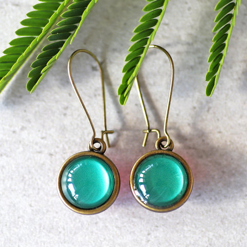 DOUBLE SIDE BRONZE DROPS - TEAL & FUCHSIA