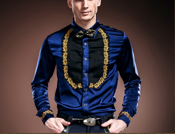 Floral Embroidery Long Sleeve Slim Fit Shirt