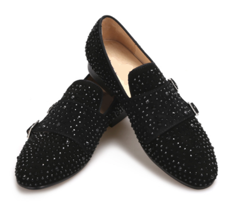 Suede black rhinestone Loafer