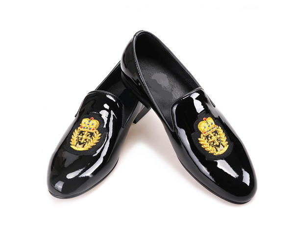Black patent leather gold embroider loafers