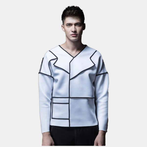 White asymmetric space cotton sweater Jacket
