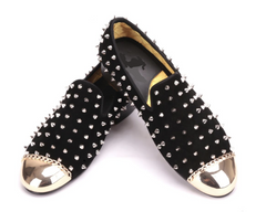 Black suede with silver rivets gold metal banquet Loafer