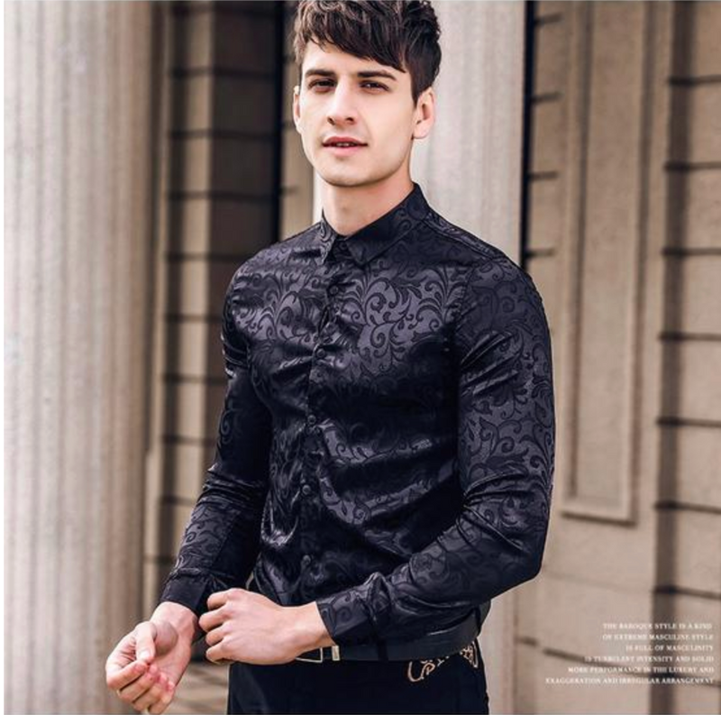 Black pattern sharp collar long sleeved shirt
