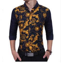Gold Stitching Flower Shirt