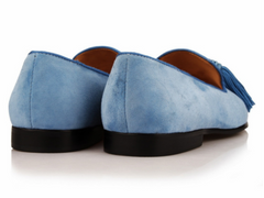 Sky Blue Suede Leather Loafers
