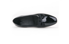 black patent leather handmade loafer