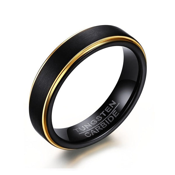 Black Tungsten Material Round Finger Ring