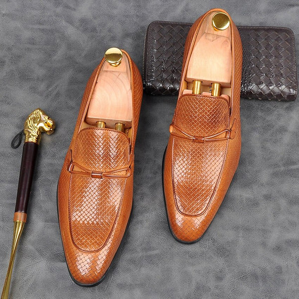 Leather Moccasin Pointed Toe Loafers