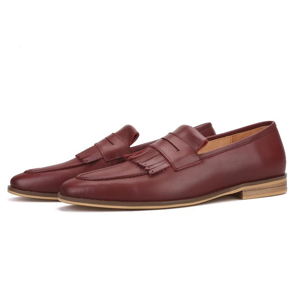 Hand-brushed calfskin leather loafer