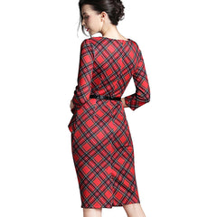 Lady Vintage Tartan Red Fitted Dress