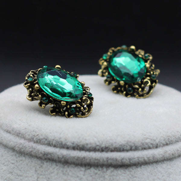 Bronze Vintage Green Big Stone Earring