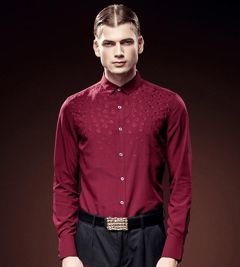 Embroidered floral red slim long sleeved shirt