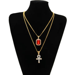 Egyptian Ankh Key Of Life Bling Rhinestone Necklace