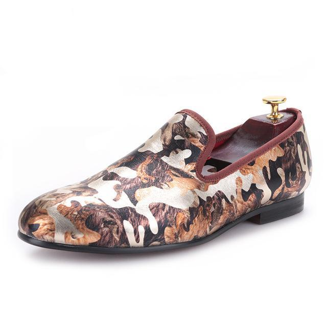 Camouflage printing smoking loafer