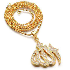 Gold Iced Out Muslim Allah Pendant Necklace