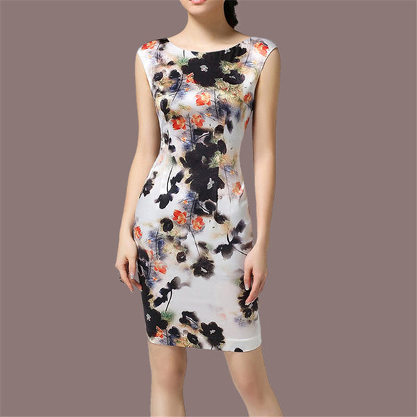 Elegant Vintage O-neck Slim Sleeveless Dress