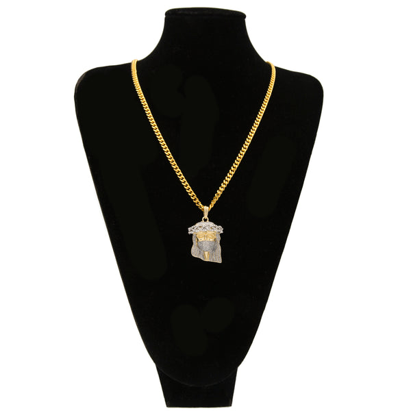 Masked Jesus Face Pendant Crystal Necklace